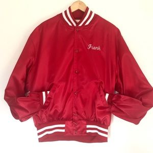 Frank's Red Satin Baseball Sports Jacket XL